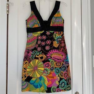 Trina Turk Colorful Retro Floral Dress Size 8